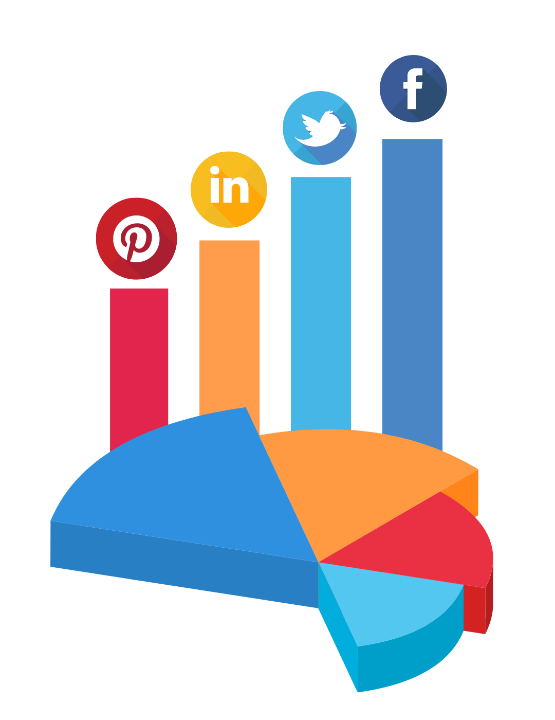 Illustration of a pie chart with social media icons and a transparent background