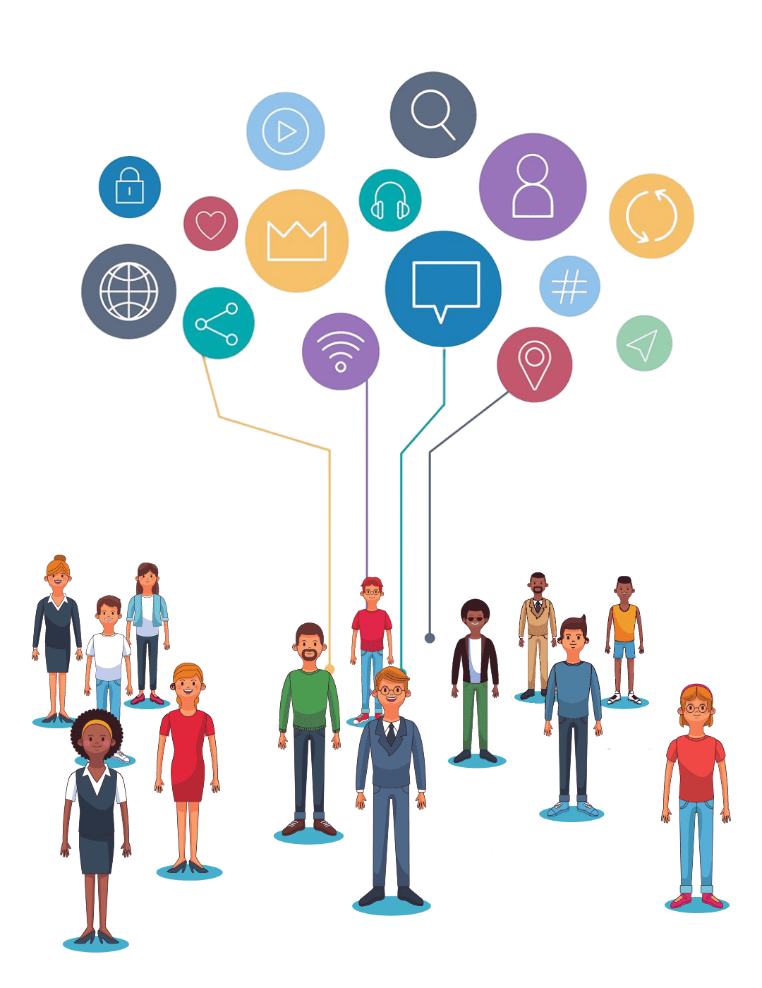 Illustration of people connected to icons and lines and a transparent background