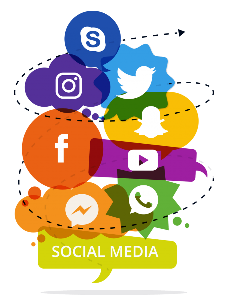 Illustration of social media icons and a transparent background
