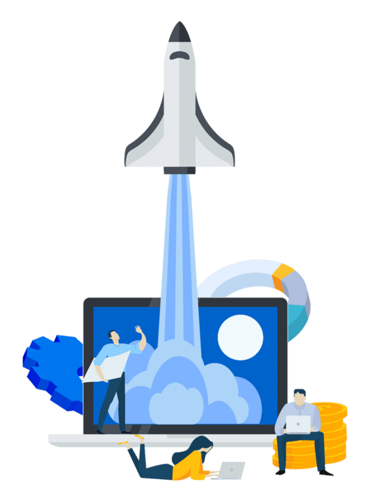 Illustration of a rocket launching with laptop and lines and a transparent background
