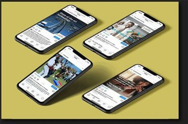 Vukawanele Instagram Services on mobile phone mockups laid out on a gold background